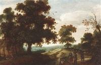 flämische waldlandschaft mit soldaten und bauernhaus by jacques fouquieres