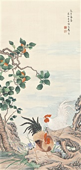 roosters and persimmons by ma jin