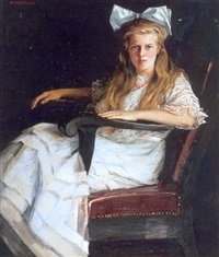 seated portrait of a young lady by susan watkins