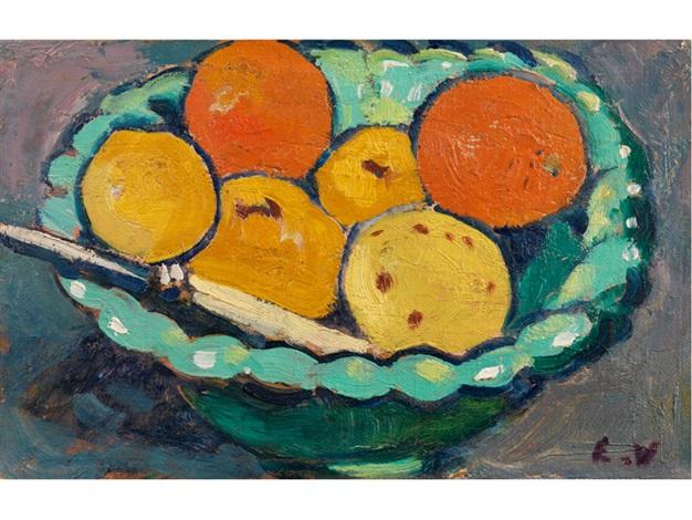 stilleben mit orangen und zitronen in einer grünen schale by louis valtat