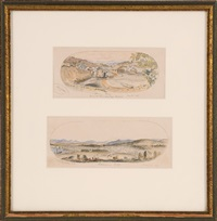 two watercolor views of new hampshire: 1) alton bay from the winnipesaukee house june 25th by jonathan badger bachelder