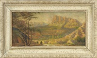 sunlit california landscape with mountains by benjamin chambers brown