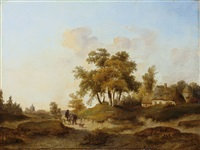 norddeutsche landschaft mit bauernkaten und einem reiter by anton albers the elder