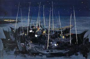 海之夜 by wu guanzhong