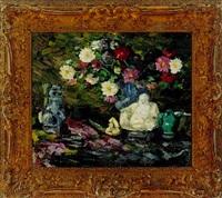opstilling med brogede blomster og buddafigur by hermann hass