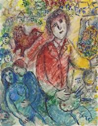 le peintre en rouge by marc chagall