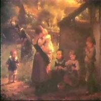 kinder vor einer gartenhutte, dahinter einr alte frau mit  giesskanne zwischen grabkreuzen by minna (henriette wilhelmine) heeren