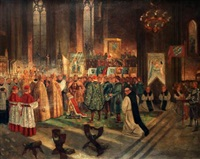 cathedral interior with coronation taking place by gustav pontus bagge