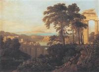 arkadisk landskab med templer og antikke ruiner by pichon