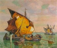 fischerboote in der lagune von venedig by august lemmer