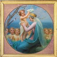 maria krones med en blomsterkrans af et englebarn by enric monserday vidal
