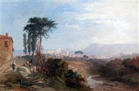 italian landscape with a town by james vivien de fleury