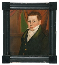 half-length portrait of william w. gibson of west rumney, new hampshire. a well-dressed young man seated in a curtained room by american school (19)