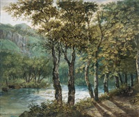 hügelige waldlandschaft mit flusslauf by johann conrad gessner
