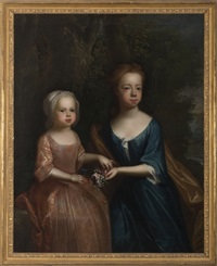 portrait of two children in landscape, each holding a sprig of flowers by joseph highmore