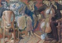 hauskonzert mit cellospieler in gutbürgerlichem salon by ferdinand staeger