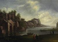 flußlandschaft mit ruinen und personenstaffage by horatius de hooch