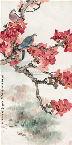 Two doves in kapok tree by Tian Shiguang on artnet