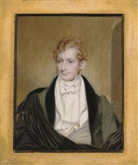 mr f. tracy, in green coat with black collar, black cloak by henry collen