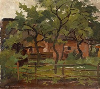 farm building in het gooi, fence and trees in the foreground by piet mondrian