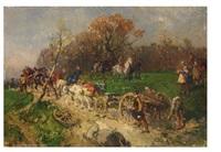 landsknechte ziehen mit sechsspänner eine kanone bergauf by paul burmeister