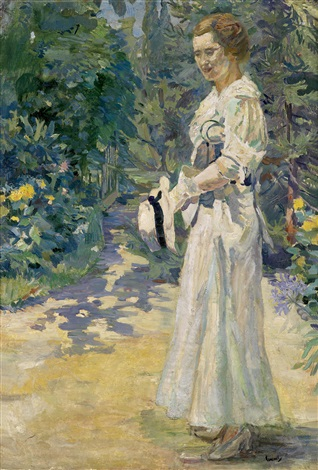 dame im park mit hut in der hand by edward cucuel