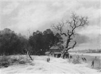 bewaldete winterlandschaft mit eisläufern by caesar bimmermann
