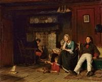 familienidylle am kamin by ferdinand fagerlin