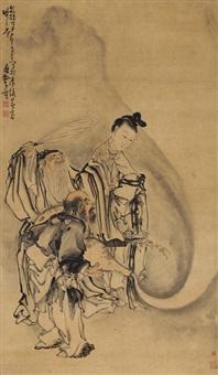 三僊喜乐图 (immortals) by huang shen