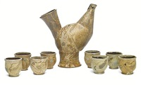 wine set comprising a chicken form decanter and eight cups(set of 9) by frances senska