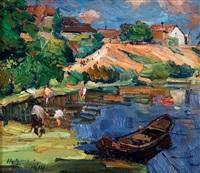 au bord du lac, paysage animé by hermann goebel