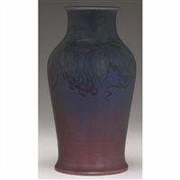 vase with leaf and berry design by margaret h. mcdonald