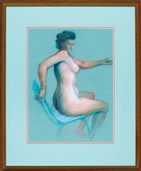 nude #2: seated female by rolland harve golden