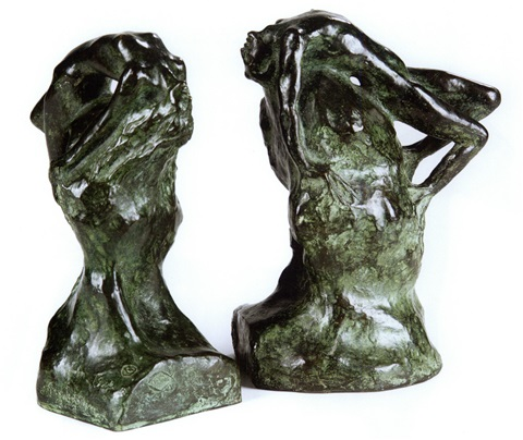 adam eve pair of bookends by gwen le gallienne