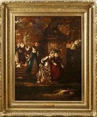 fischfütternde damen am koi-teich im garten von versailles by pauline von rasse
