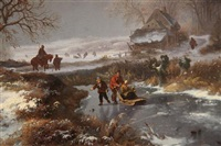 travellers in a winter landscape by frederik marinus kruseman