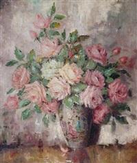 ein strauß rosen in einer vase by carl holger fischer