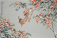 birds in the winter snow by liu yong