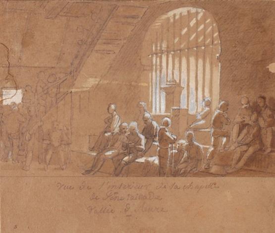 vue de lintérieur de la chapelle vallée daure by françois marius granet