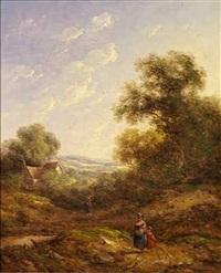 sommerlandskab med mor og barn på en grusvej by richard h. hilder