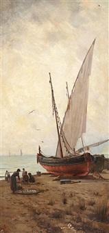 barcas en la playa by aurelio tolosa alsina