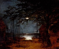 havneparti med skibe i måneskin by frederik michael ernst fabritius de tengnagel