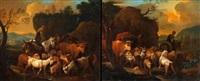 paysans et troupeau (pair) by jean daniel huber