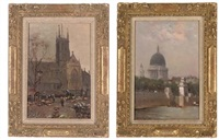 a summer's afternoon on the embankment, st. paul's cathedral in the distance (+ 2 others; 3 works) by william a. macdonald