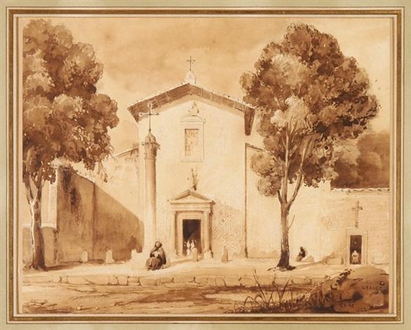 devant une église à rome by françois marius granet