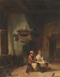 das tischgebet. bauernpaar vor dem gedeckten tisch in der stube by leopold fisette