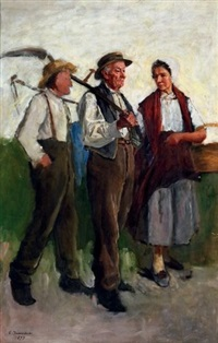 paysans rentrant du travail by gustave jeanneret