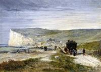 l'arrivée de la calèche au tréport by jules achille noel