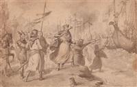 el almirante roger de llúria destruye la flota de carlos de anjou en su presencia by mariano josé maría bernardo fortuny y carbó