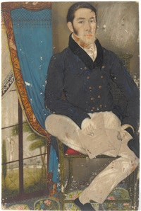 portrait of a gentleman, seated, in a caned chair holding a newspaper, in a curtained interior, a view to a river beyond by colonial school (18)